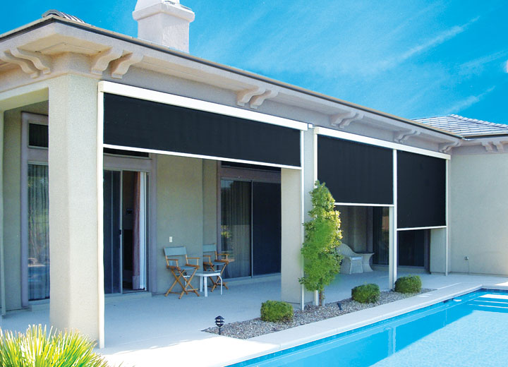 exterior roller shades. -grommet option to hold fabric in place exterior roller shades r